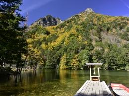 紅葉上高地10月下旬、明神池一之池 (1)