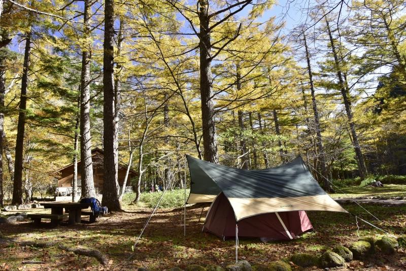 上高地10月下旬、小梨平キャンプ場