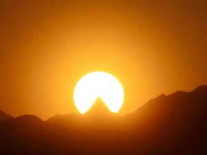 2017/05/20 18:30 槍ヶ岳への夕陽