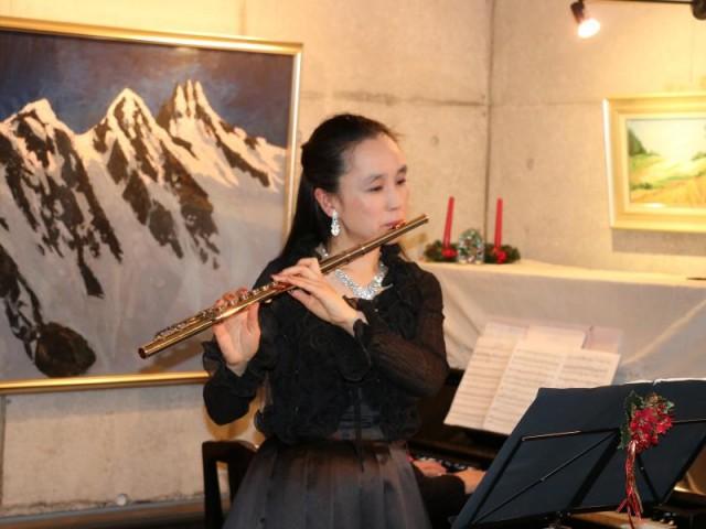 クリスマスによせて フルート演奏(桂聰子さん)ミュージアムコンサート 桂重英美術館