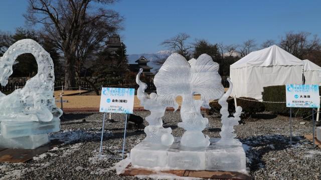 国宝松本城氷彫フェスティバル2018 初日 朝・夜